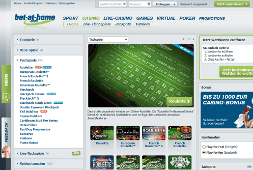 Bet at Home Casino PC