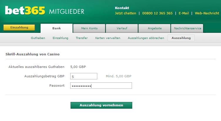Auszahlung im Online Casino