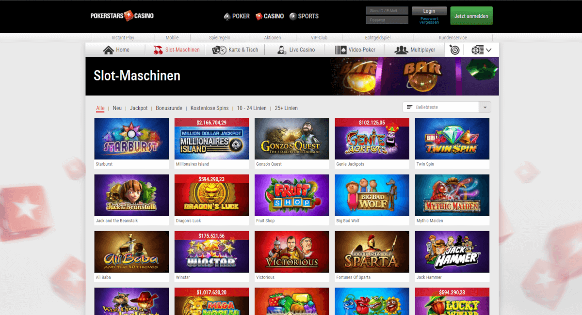 pokerstars casino slots