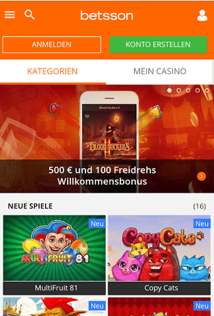 Betsson Mobil Homepage
