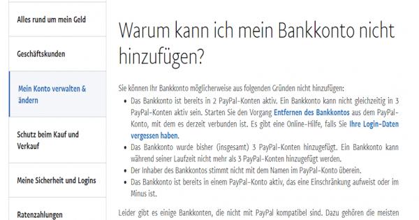 Paypal Bankkonto Löschen Nicht Möglich