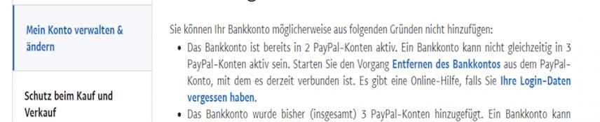 Paypal Fehlermeldung