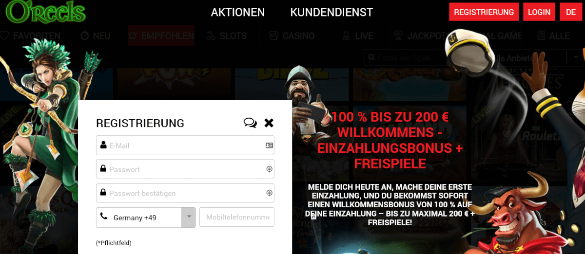 oreels casino regsitrierung