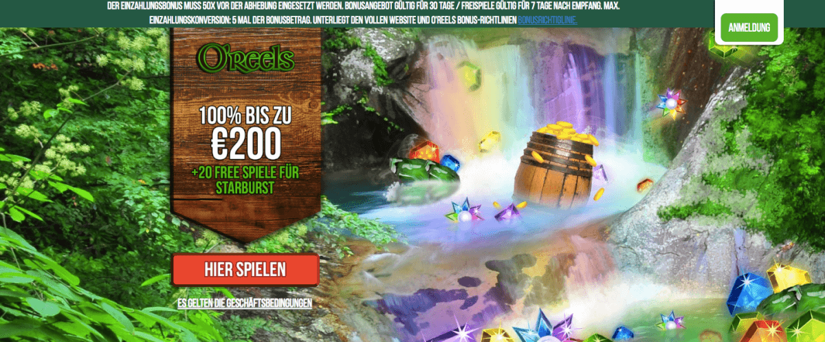 Oreels Casino Landingpage