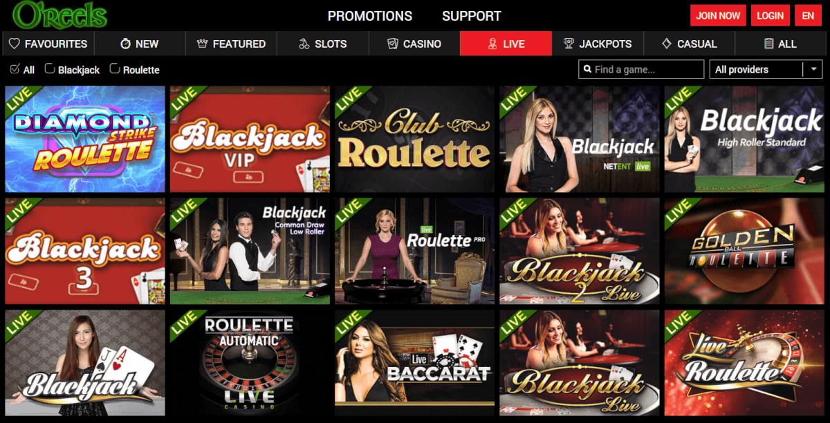 oreels live casino