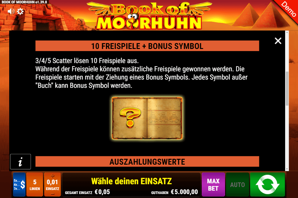 Book of Moorhuhn Bonusspiele Freispiele Gamomat