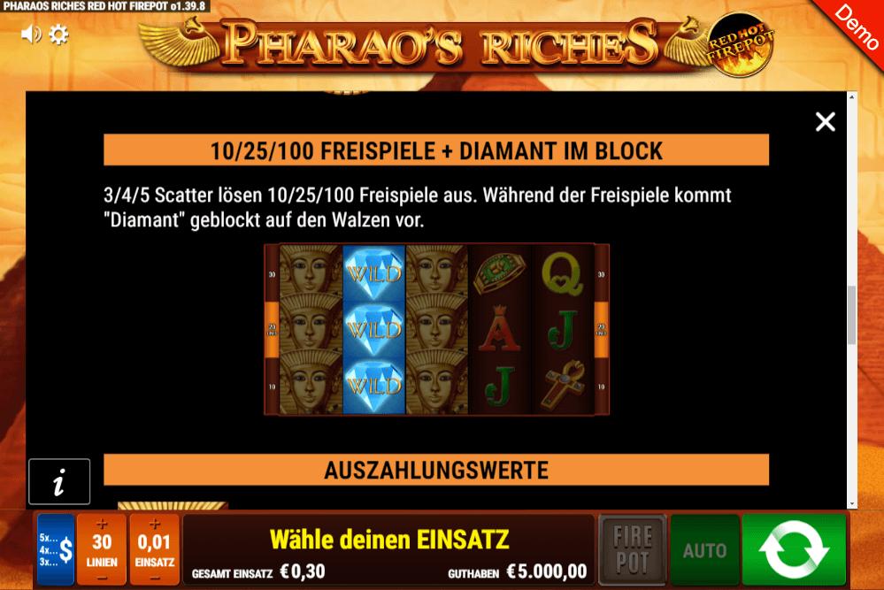 pharaos riches slot gamomat