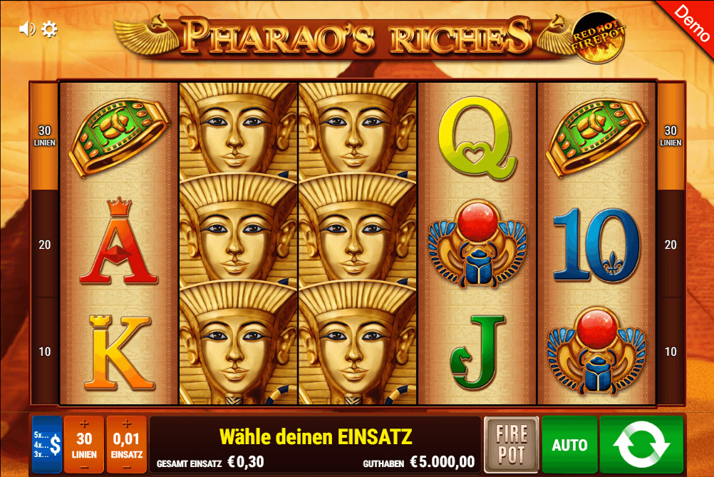 pharao's riches slot gamomat
