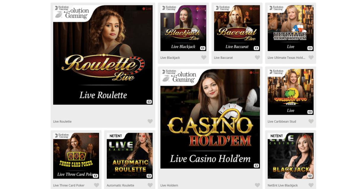 Casimba Live Casino Lobby