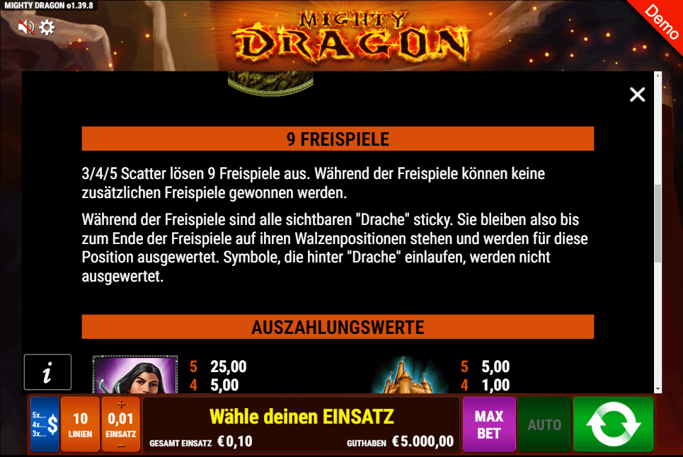 Mighty Dragon Freispiele