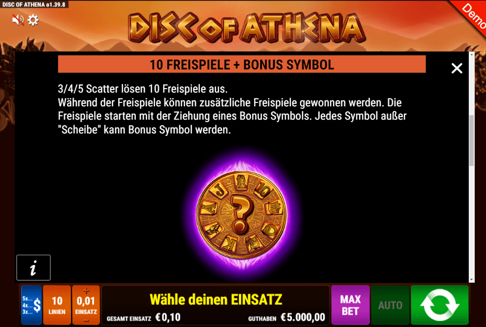 Disc of Athena Gamomat Slot