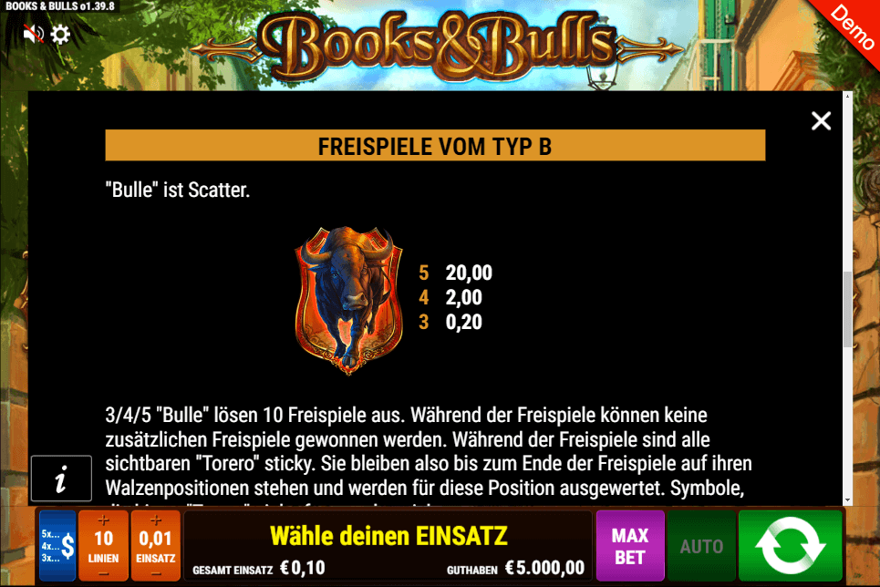 Gamomat Books and Bulls Slot