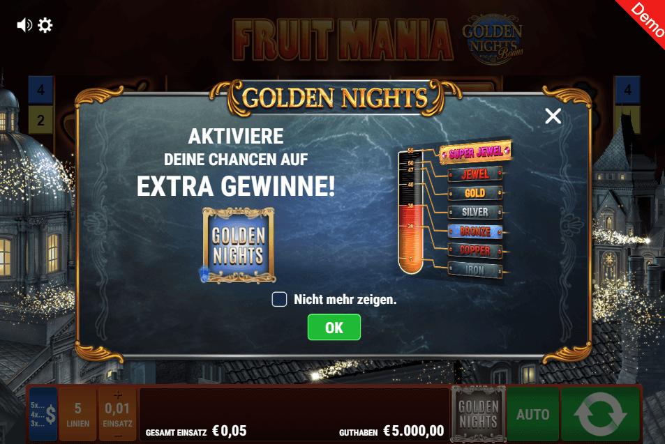 Fruit Mania Golden Nights Slot Jackpot