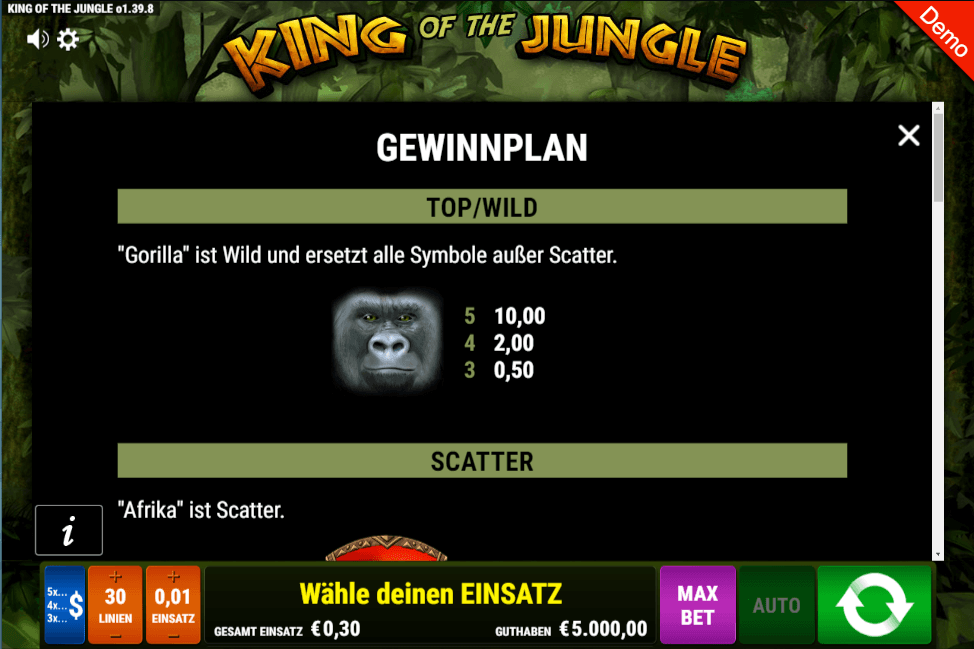 King of the Jungle Slot mobil