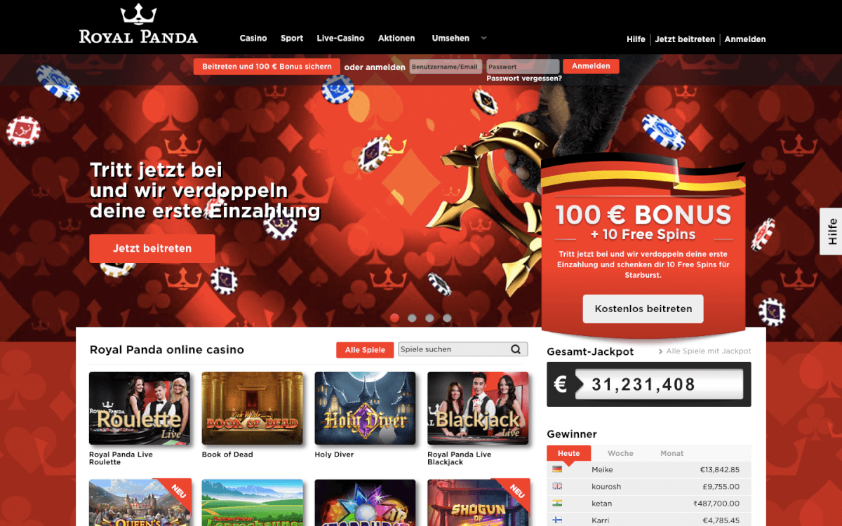 Royal Panda Casino Home