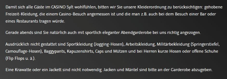 Spielbank Sylt Kleiderordnung