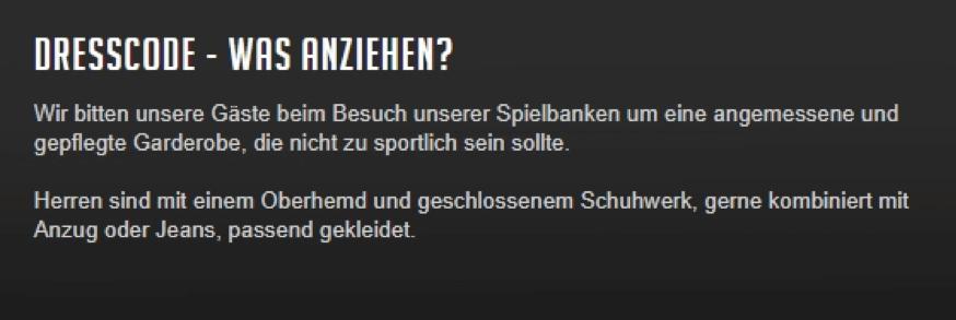 Dortmund Hohensyburg Spielbank Dresscode