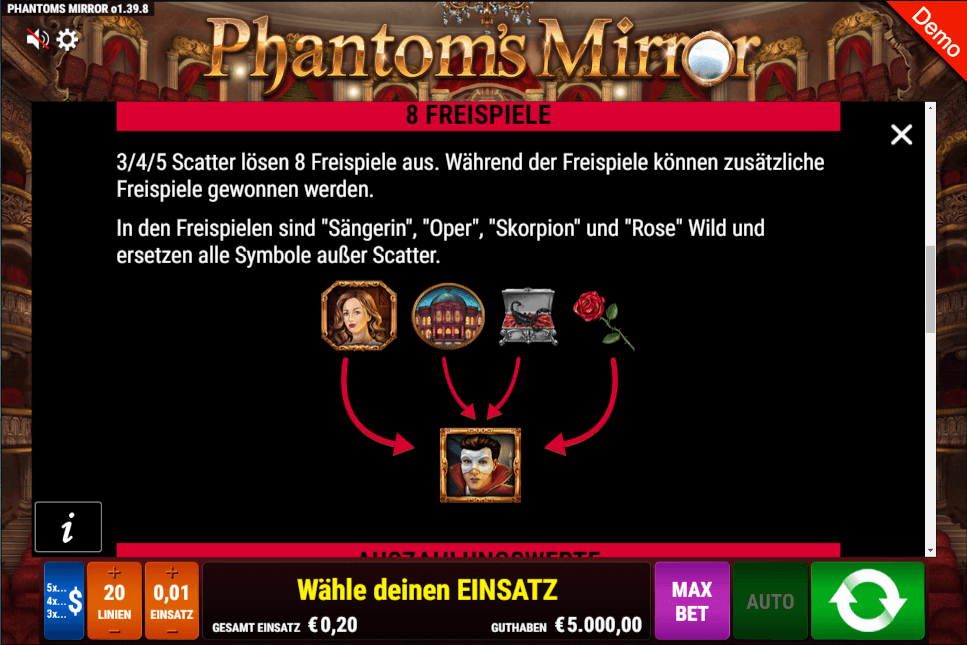 Phantom's Mirror Gamomat Freispiele