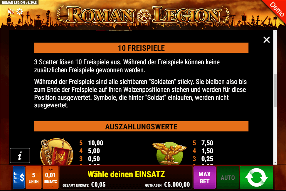 Roman Legion Freispiele Gamomat