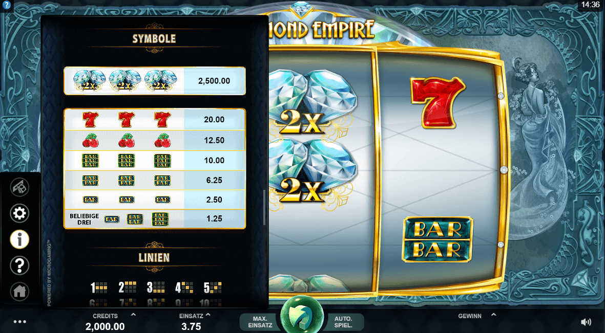 Diamond Empire Slot Symbole