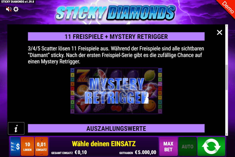 Sticky Diamonds Freispiele