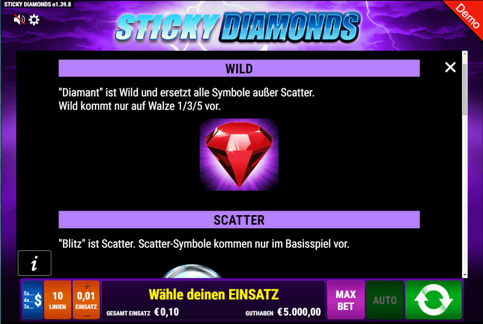 Sticky Diamonds Slot Wild