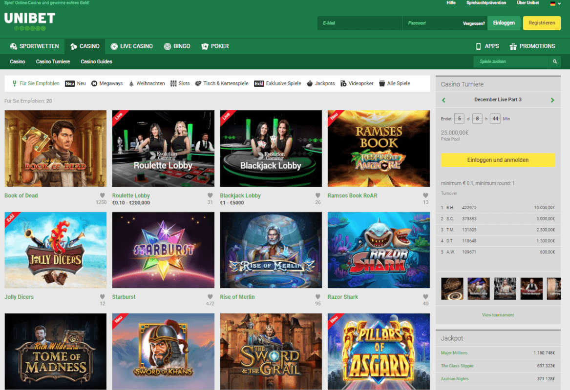 Unibet Casino Slotmachines