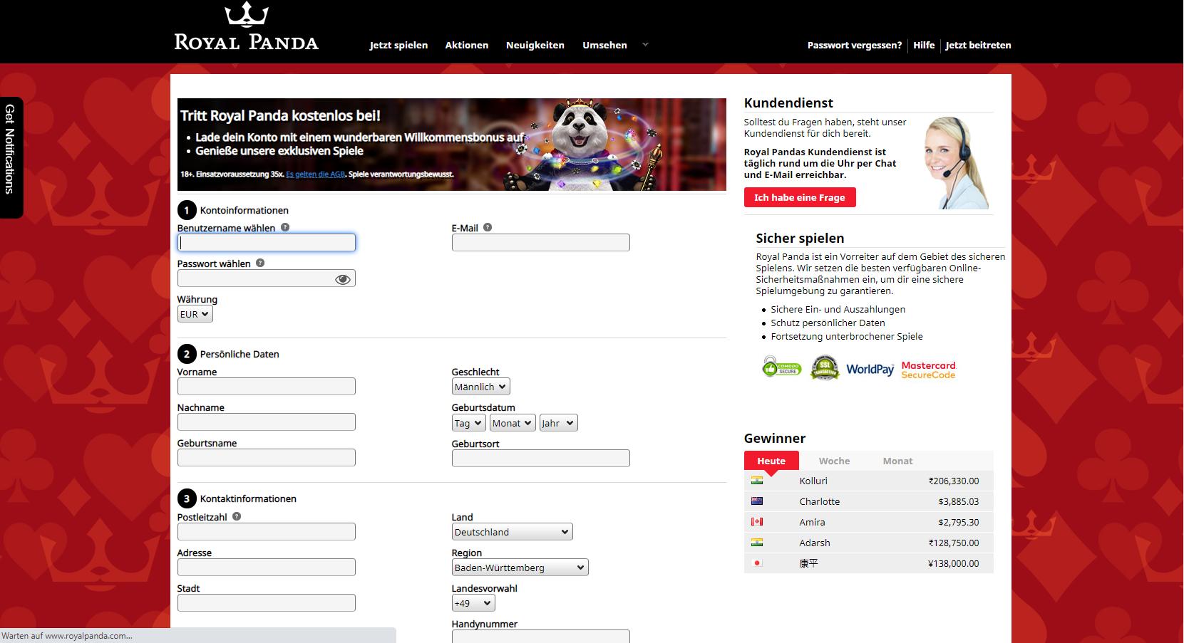 Royal Panda Spielo Anmeldung