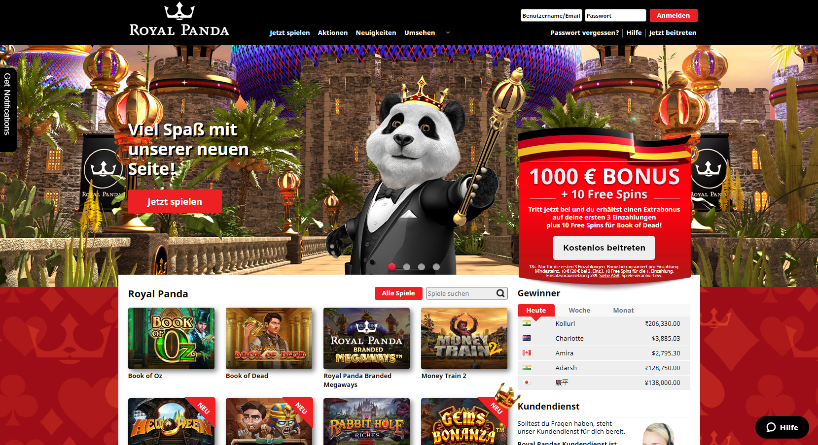 Royal Panda Online-Spielothek