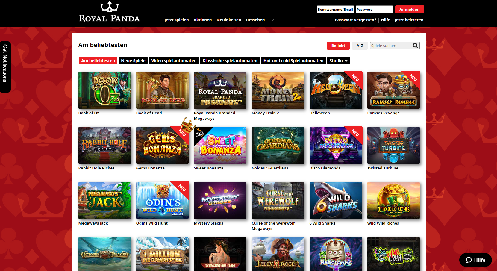 Royal Panda Online Spielothek Slots