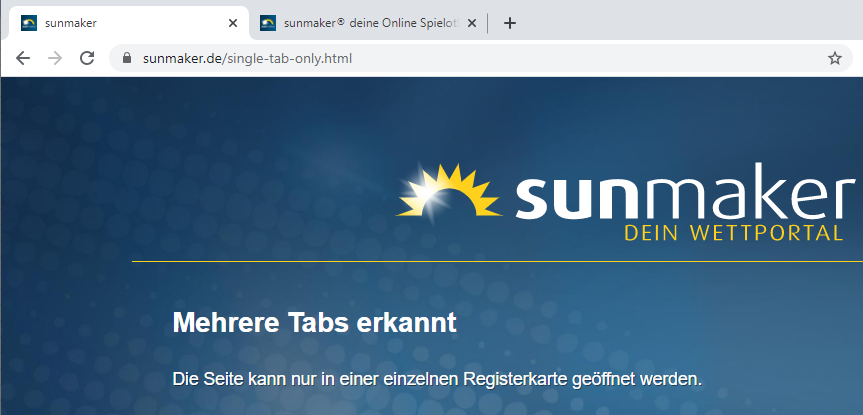 sunmaker mehrere Tabs erkannt