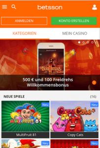 Betsson Mobil Homepage