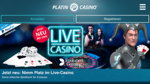 Platin mobiles Live Casino