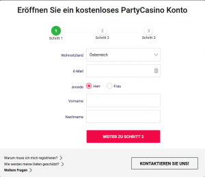 PartyCasino Anmeldung 1