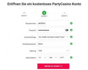 PartyCasino Anmeldung 2