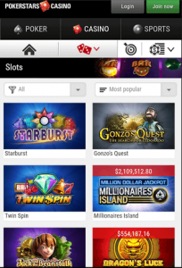 Pokerstars Casino Mobile Lobby
